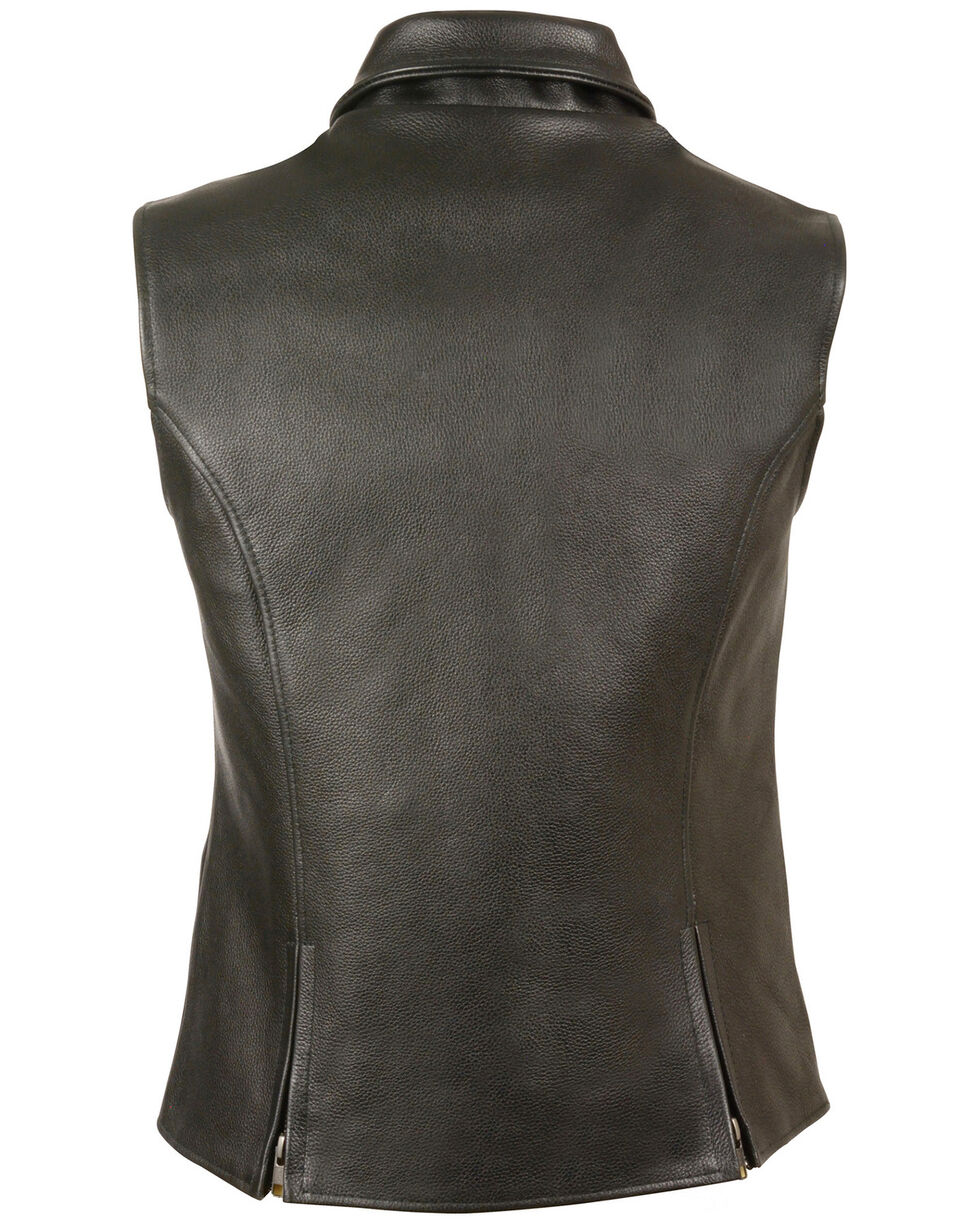 Milwaukee Leather Women's Extra Long Zipper Front Vest - 5X, Black, hi-res
