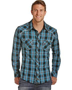 Rock & Roll Cowboy Men's Twill Plaid Shirt , Turquoise, hi-res