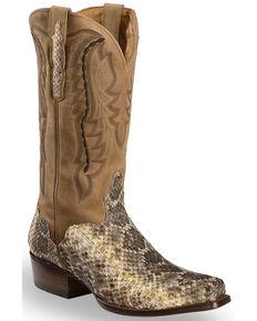 El Dorado Men's Handmade Western Rattlesnake Cowboy Boots - Square Toe, Natural, hi-res