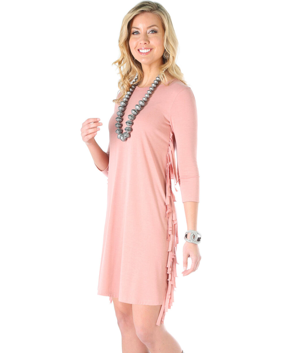 Wrangler Women's Rose Fringe Knit Dress, Mauve, hi-res