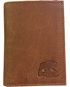 Berne Men's Tan Embossed Leather Tri-Fold Wallet , Tan, hi-res