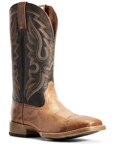 Ariat Men's Barton Ultra Rustic Western Boots - Wide Square Toe, Brown, hi-res