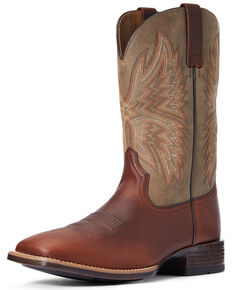 Ariat Men's Valor Western Boots - Wide Square Toe, Brown, hi-res