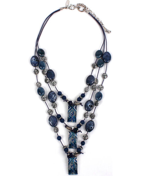 Treska Women's Three Row Bead On Cord Necklace, Blue, hi-res