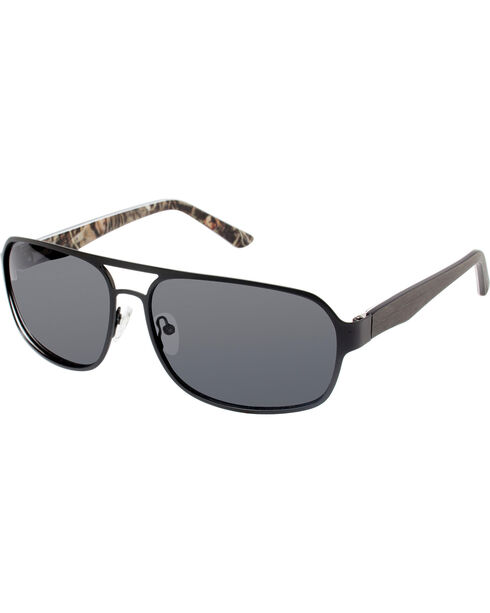 Realtree Men's Black Xtra® Camo Aviator Polarized Sunglasses , Black, hi-res