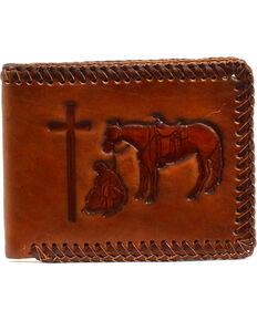Nocona Brown Praying Cowboy Leather BiFold Wallet , Tan, hi-res