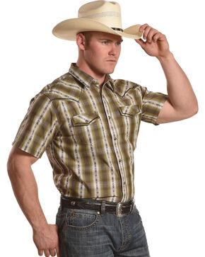 Cody James Men's Standing Bear Plaid Striped Short Sleeve Shirt - Big & Tall, Olive, hi-res
