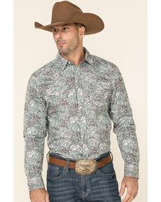Cody James Men's Grasslands Paisley Print Long Sleeve Western Shirt - Tall , Teal, hi-res
