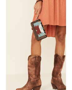 Shyanne Women's Aztec Tooled Wallet, Brown, hi-res