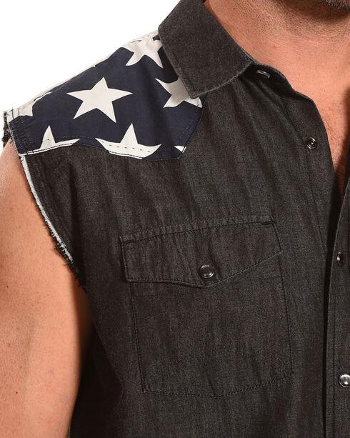 Cody James Men's Union Americana Sleeveless Shirt, Black, hi-res