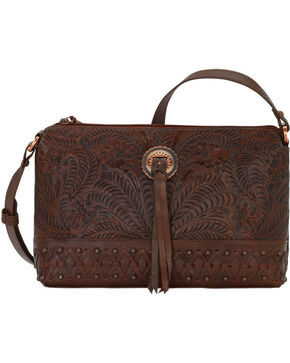 American West Women's Dove Canyon Crossbody Bag , Chestnut, hi-res