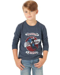Wrangler Boys' Heather Navy Authentic Rodeo Graphic Long Sleeve T-Shirt , Navy, hi-res