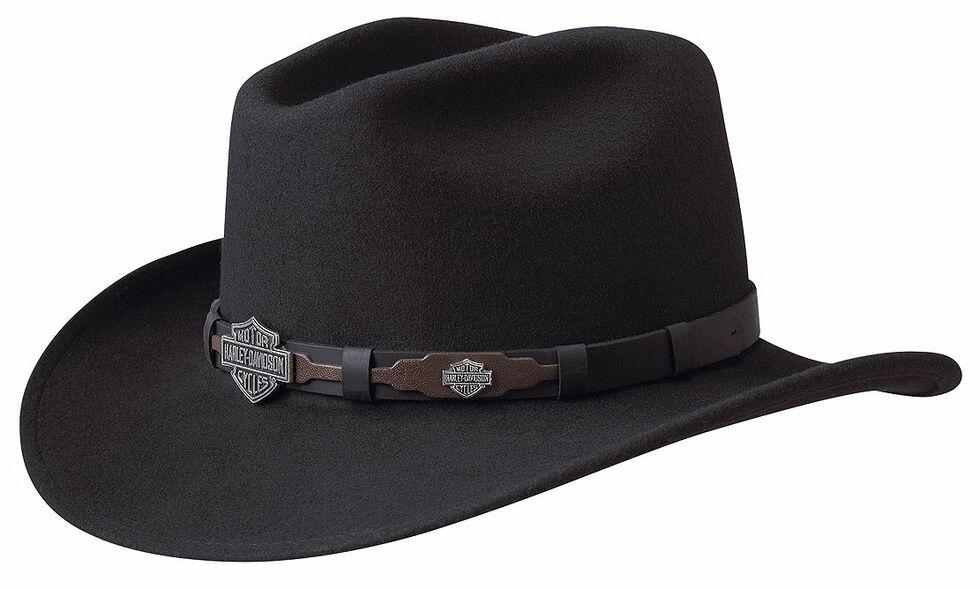 Harley Davidson Leather Overlay   Concho Wool Felt Crushable Cowboy ... 00d59e1add20