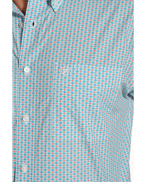 Ariat Men's Casual Series Smith Print Long Sleeve Button Down Shirt, Turquoise, hi-res