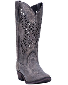 Laredo Women's Chopped Out Western Boots - Snip Toe, Grey, hi-res