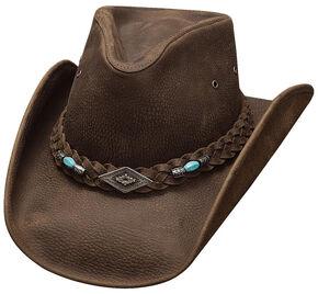 Bullhide Royston Top Grain Leather Hat, Chocolate, hi-res