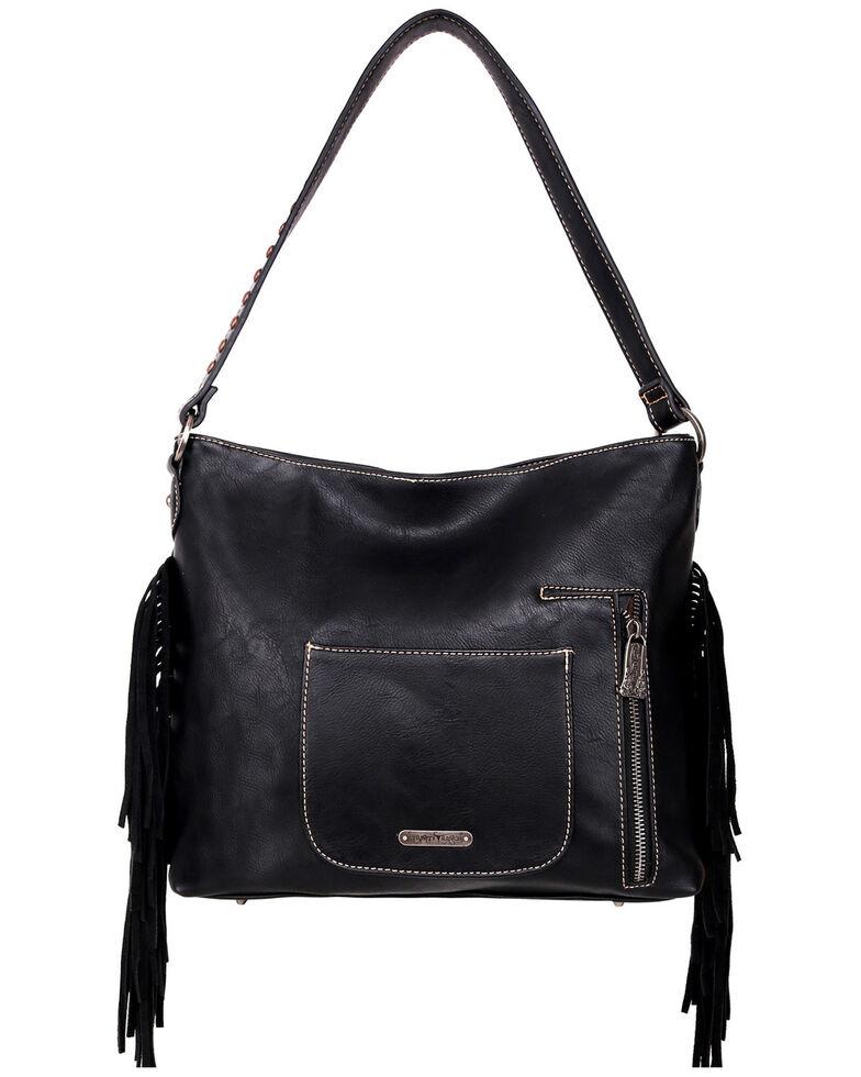 Trinity Ranch Women's Fringe Hobo Bag, Black, hi-res