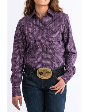 Cinch Women's Paisley Print Snap Front Long Sleeve Western Shirt , Purple, hi-res