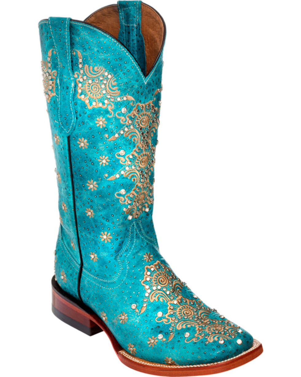 Ferrini Turquoise Country Lace Cowgirl Boots - Square Toe, Turquoise, hi-res