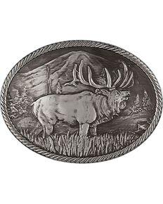 Montana Silversmiths Gunmetal Outdoor Series Wild Elk Carved Buckle, Silver, hi-res