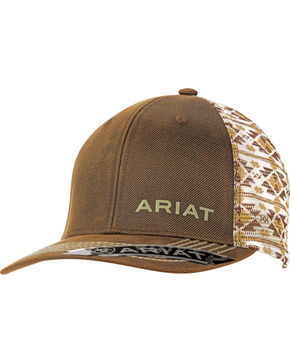 Ariat Men's Oil Skin Aztec Mesh Back Cap, Brown, hi-res