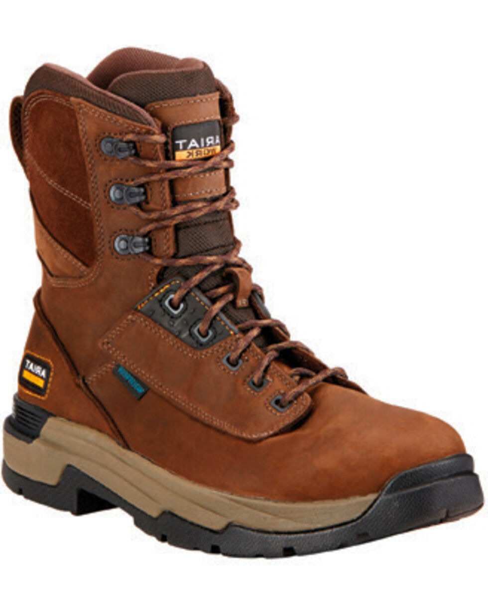 """Ariat Mastergrip Waterproof Insulated 8"""" Lace-Up Work Boots - Round Toe , Brown, hi-res"""