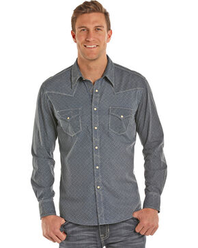 Rock & Roll Cowboy Men's Snow Washed Shirt , Indigo, hi-res