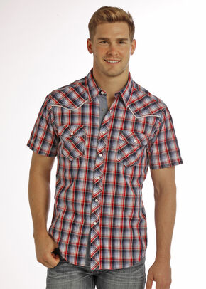 Rock & Roll Cowboy Men's Blue Crinkle Wash Short Sleeve Plaid Shirt , Blue, hi-res