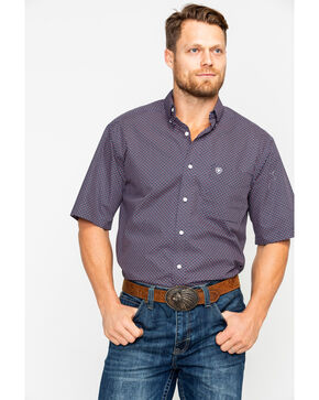 Ariat Men's Darret Geo Print Short Sleeve Western Shirt , Black, hi-res