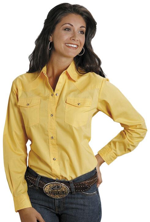 Roper Women's Amarillo Solid Pearl Snap Western Shirt, Yellow, hi-res
