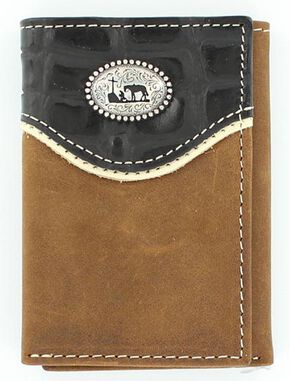 Nocona Croc Print Overlay w/ Cowboy Prayer Concho Tri-fold Wallet, Med Brown, hi-res