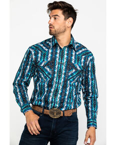 Rough Stock by Panhandle Men's Weston Striped Aztec Print Long Sleeve Western Shirt , Blue, hi-res