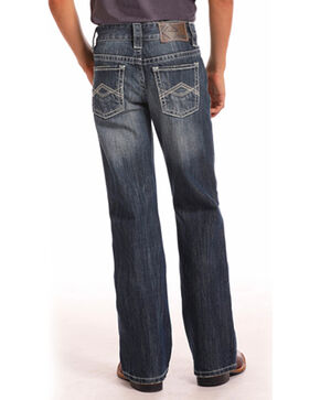 Rock & Roll Cowboy Boys' Triple A Pocket Dark Wash Jeans (4-20) - Boot Cut, Indigo, hi-res