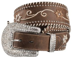 Blazin Roxx Wide Floral Embroidered Leather Belt, Brown, hi-res