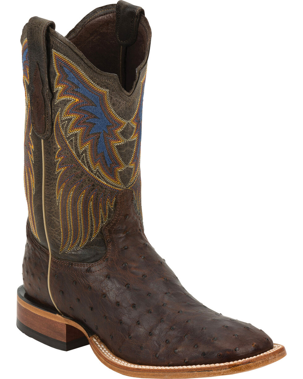 Tony Lama Black Label Full Quill Ostrich Cowboy Boots - Square Toe, Sienna, hi-res