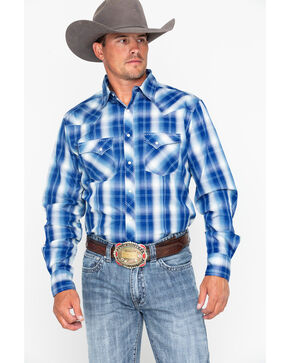 Wrangler Men's Fashion Snap Plaid Long Sleeve Western Shirt, Blue/white, hi-res