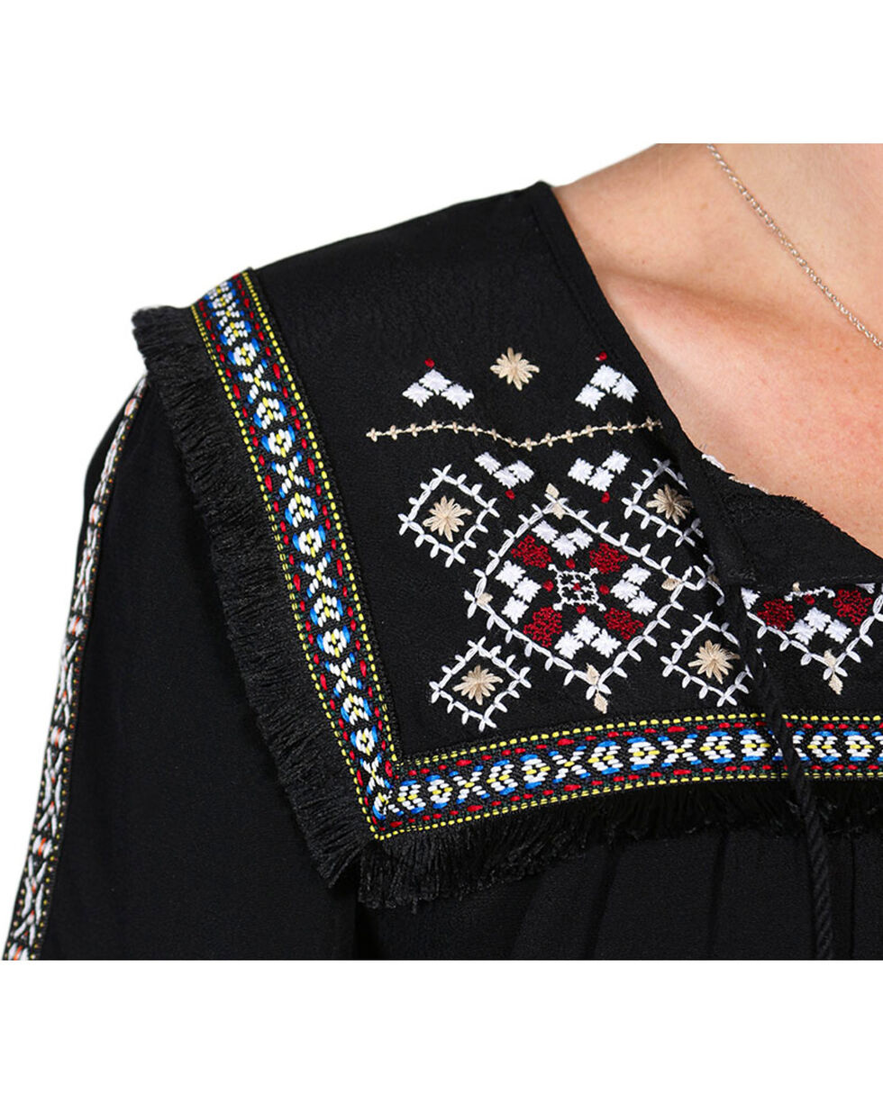 Shyanne Women's Woven Aztec Braid Trim Shirt, Black, hi-res