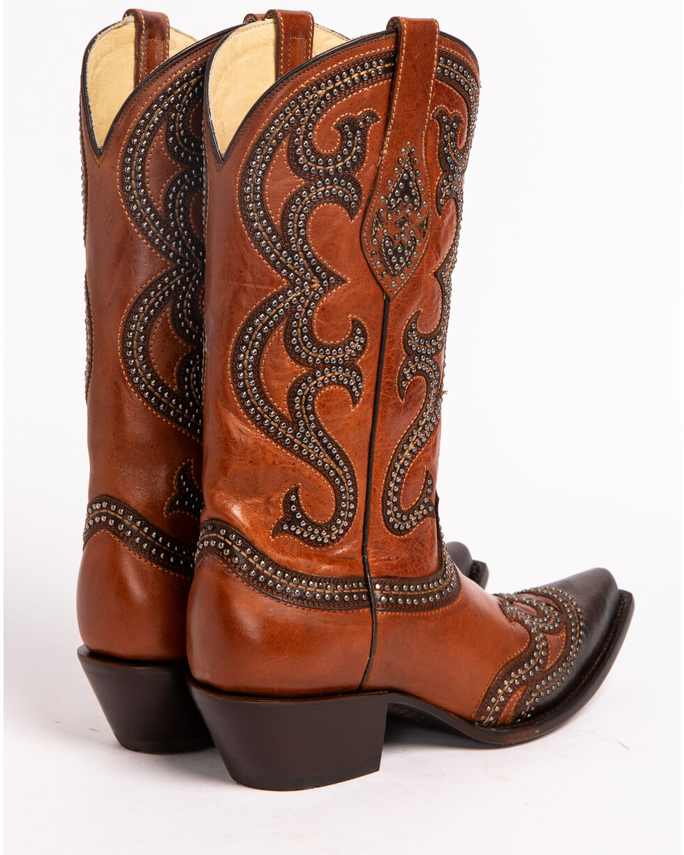 Corral Studded Overlay Cowgirl Boots - Snip Toe, Cognac, hi-res