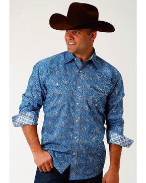 Roper Men's Blue Depths Paisley Long Sleeve Western Snap Shirt, Blue, hi-res