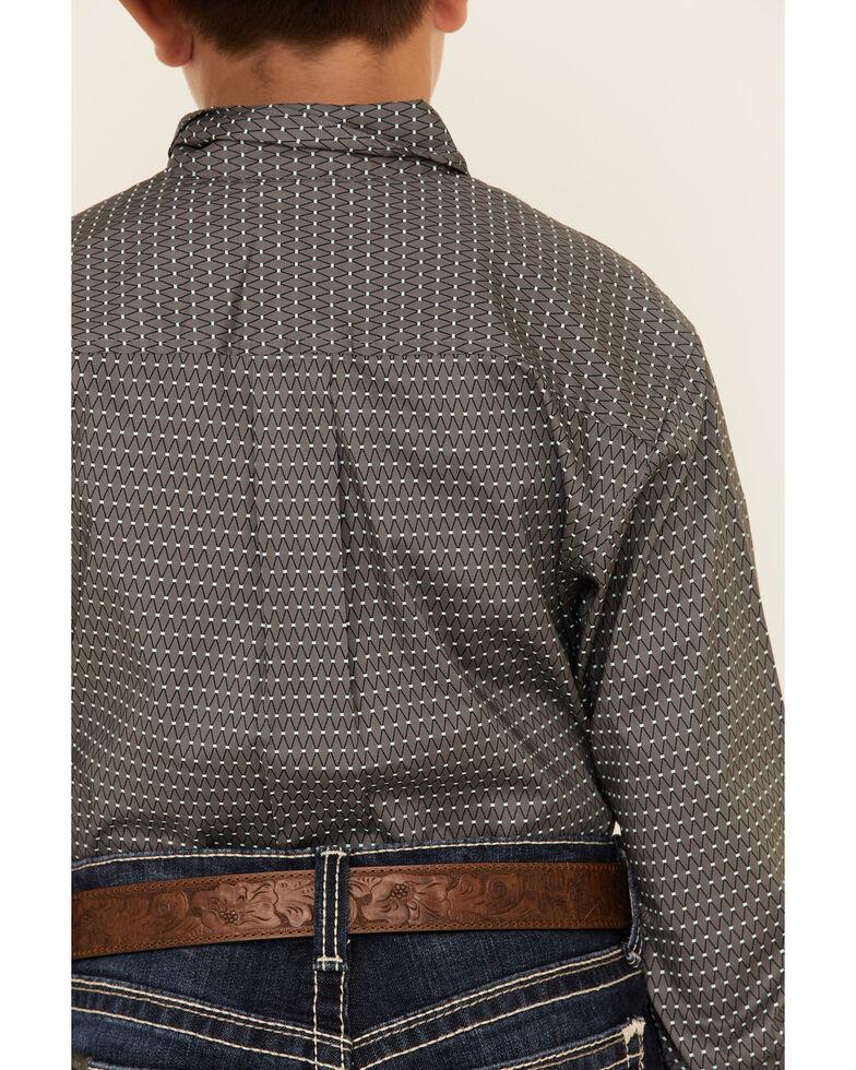 Cinch Boys' Grey Stretch Geo Print Button Long Sleeve Western Shirt , Grey, hi-res