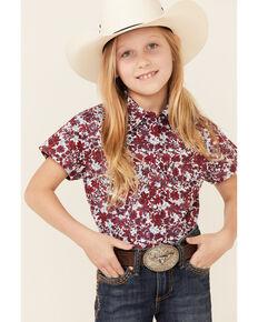 Shyanne Girls' Red Floral Print Short Sleeve Snap Western Shirt , Red, hi-res