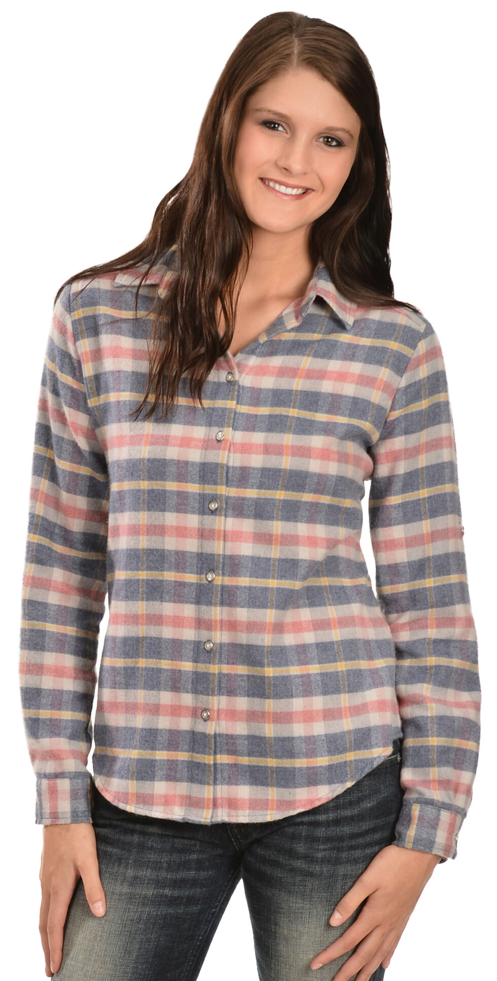 White Crow Women's Harvest Moon Plaid Flannel Shirt, Blue, hi-res