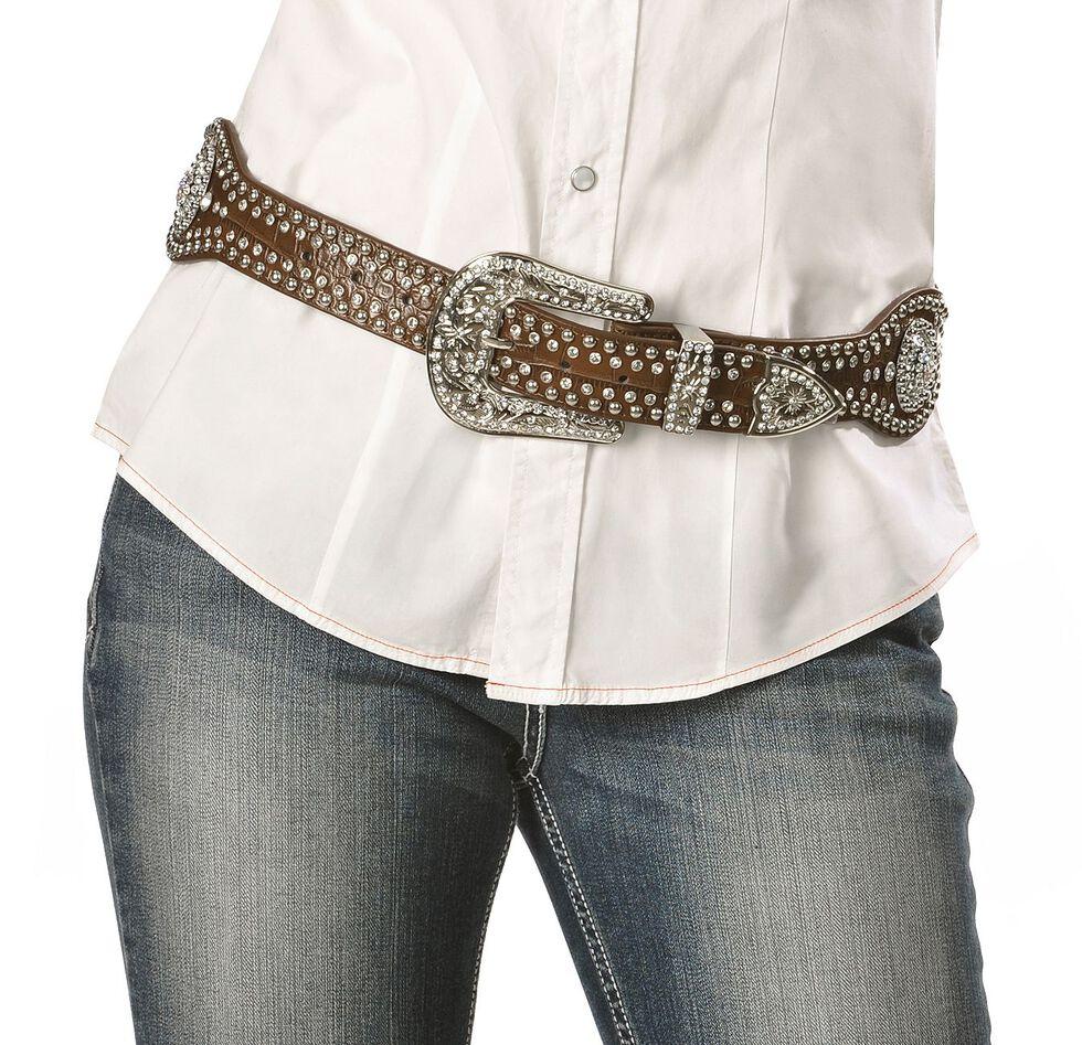 Blazin Roxx Scalloped Concho Leather Belt, Brown, hi-res