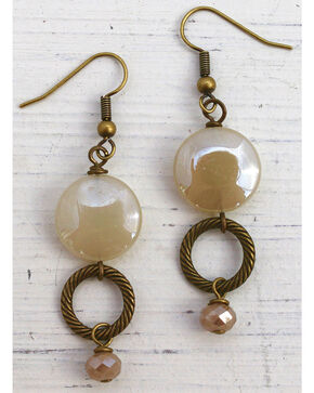 InspireDesigns Women's Stacked Circle Earrings , Ivory, hi-res