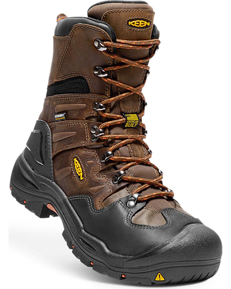 """Keen Men's Coburg 8"""" Waterproof Boots - Steel Toe, Brown, hi-res"""