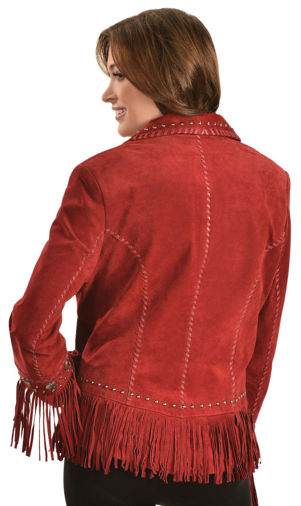 Scully Long Lapel Suede Fringe Jacket, Red, hi-res