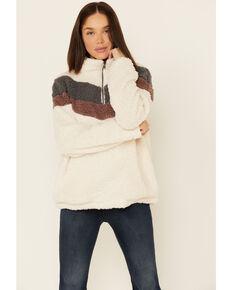 Hem & Thread Women's Ivy Chevron Sherpa 1/2 Zip Pullover , Ivory, hi-res
