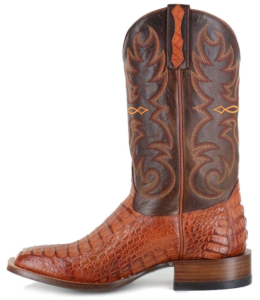 Cody James Men's Embroidered Caiman Exotic Boots - Wide Square Toe, Brown, hi-res
