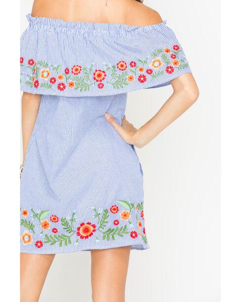 Miss Me Off the Shoulder Embroidered Striped Dress, Blue, hi-res