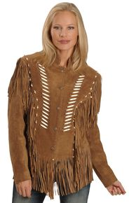 Liberty Wear Bone Bead & Fringe Leather Jacket, Tobacco, hi-res
